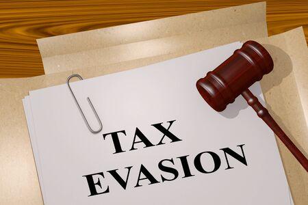 3D illustration of TAX EVASION title on legal document 写真素材
