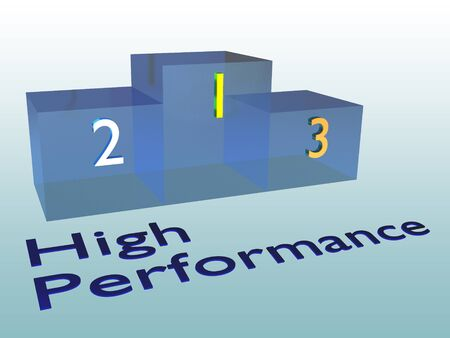 3D illustration of High Performance title with a podium, and a blue gradient as a background Stock fotó