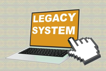 3D illustration of LEGACY SYSTEM script with pointing hand icon pointing at the laptop screen Stockfoto