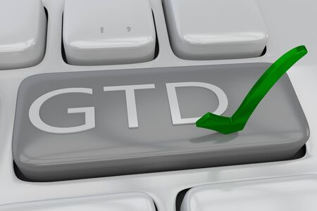 3D illustration of computer keyboard with the script GTD (Getting Things Done) and a green check mark