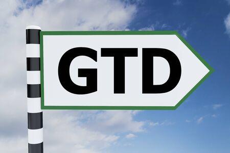 3D illustration of GTD script on road sign