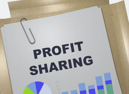 3D illustration of PROFIT SHARING title on business document Banco de Imagens