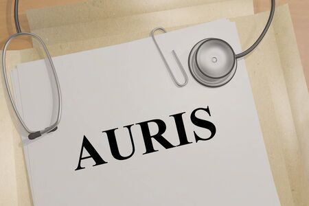 3D illustration of AURIS title on a medical document