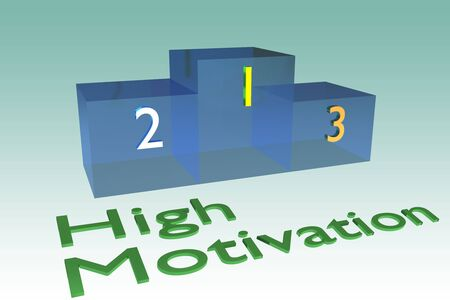 3D illustration of High Motivation title below a podium isolated on a green gradient background.