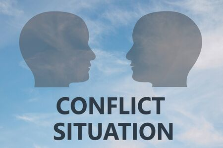 Render illustration of CONFLICT SITUATION title under two head silhouettes, with cloudy sky as a background.