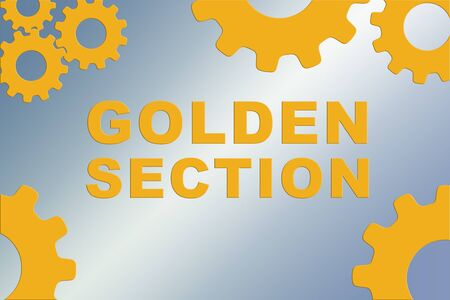 GOLDEN SECTION sign concept illustration with golden gear wheel figures on pale blue gradient background