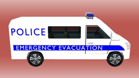 3D illustration of an emergency evacuation police van, isolated on a red gradient.