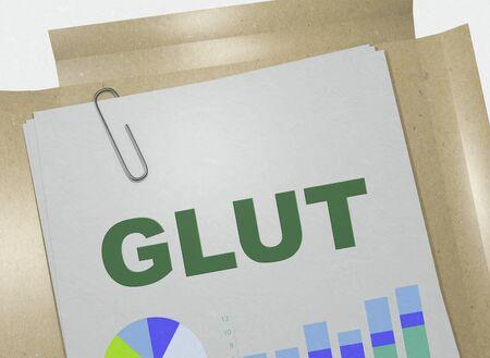 3D illustration of GLUT title on business document