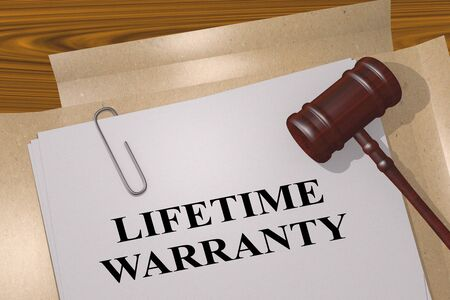 3D illustration of LIFETIME WARRANTY title on legal document Stok Fotoğraf