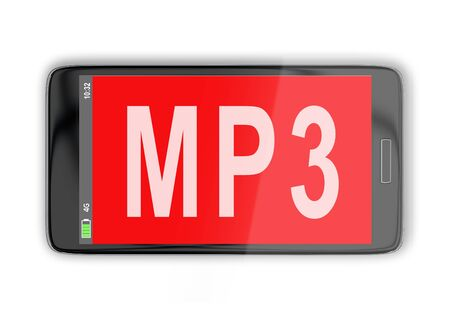 3D illustration of MP3 title on cellular screen, isolated on white Stock fotó