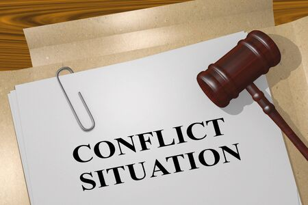 3D illustration of CONFLICT SITUATION title on legal document