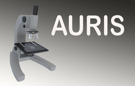 3D illustration of a microscope with AURIS title, isolated on a gray gradient. Stok Fotoğraf