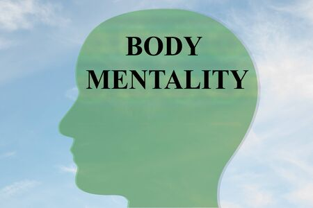 Render illustration of BODY MENTALITY title on head silhouette, with cloudy sky as a background. Banque d'images - 131731981
