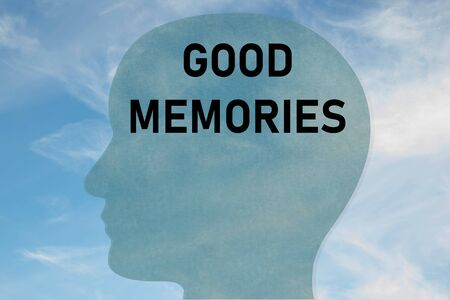 Render illustration of GOOD MEMORIES title on head silhouette, with cloudy sky as a background.