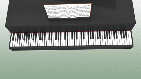 3D illustration of piano keyboard and musical notebook, with green gradient as a background. Banque d'images - 131731985