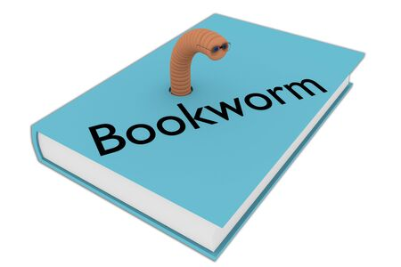 3D illustration of Bookworm script on a book, isolated on white. 스톡 콘텐츠