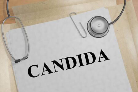 3D illustration of CANDIDA title on a medical document