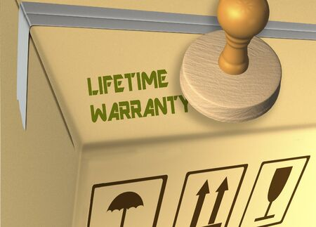 3D illustration of LIFETIME WARRANTY stamp title on a carton which contains food Banco de Imagens