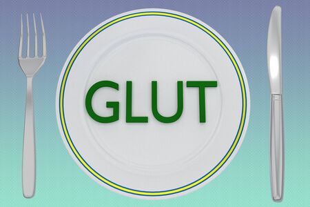 3D illustration of GLUT title on a white plate, along with silver knif and fork, on a colored gradient background.