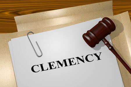 3D illustration of CLEMENCY title on legal document