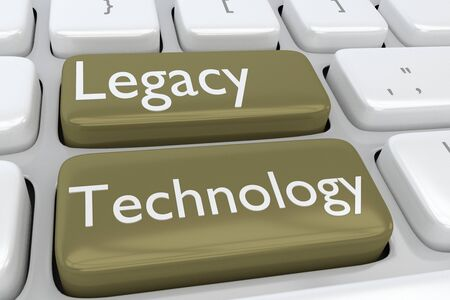 3D illustration of computer keyboard with the script Legacy Technology on two adjacent buttons Stockfoto