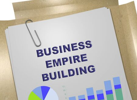 3D illustration of BUSINESS EMPIRE BUILDING title on business document Stock fotó