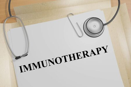 3D illustration of IMMUNOTHERAPY title on a medical document