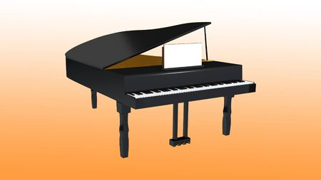 3D illustration of a grand piano isolated on orange gradient 写真素材