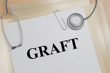 3D illustration of GRAFT title on a medical document