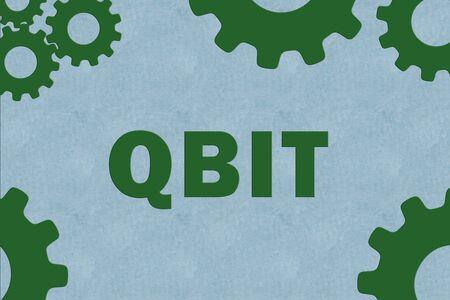 QBIT sign concept illustration with green gear wheel figures on pale blue background