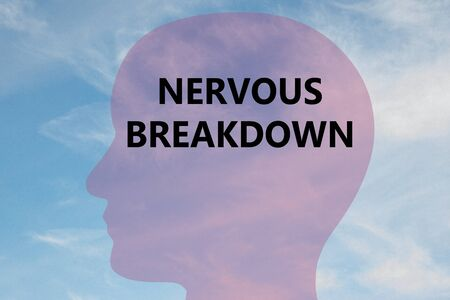 Render illustration of NERVOUS BREAKDOWN title on head silhouette, with cloudy sky as a background. Standard-Bild - 134844426