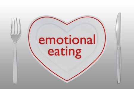3D illustration of emotional eating title on a white plate shaped as heart, along with silver knif and fork, on a gray gradient.