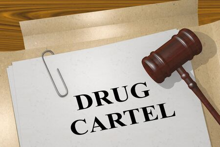 3D illustration of DRUG CARTEL title on legal document