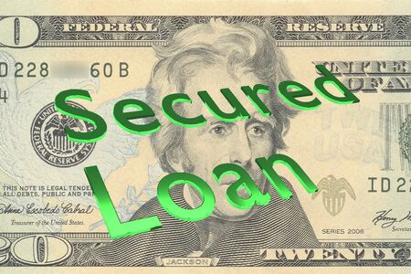 3D illustration of Secured Loan title on Twenty Dollars bill as a background