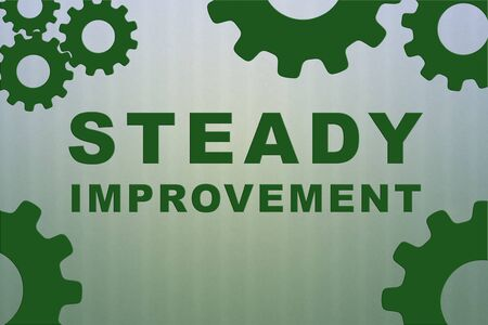 STEADY IMPROVEMENT sign concept illustration with green gear wheel figures on pale green strips pattern as background