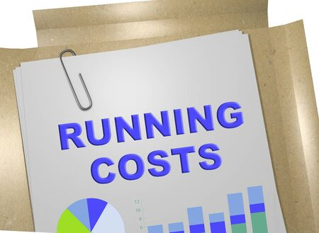 3D illustration of RUNNING COSTS title on business document