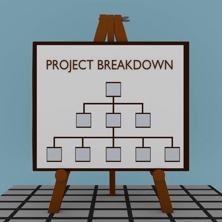 3D illustration of PROJECT BREAKDOWN title on a tripod display board