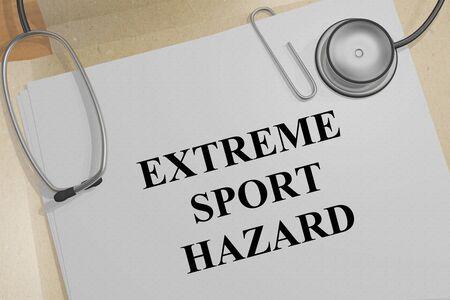 3D illustration of EXTREME SPORT HAZARD title on a medical document 写真素材