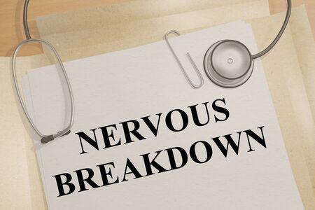 3D illustration of NERVOUS BREAKDOWN title on a medical document Standard-Bild - 134844472