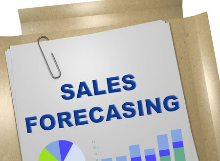 3D illustration of SALES FORECASTING title on business document