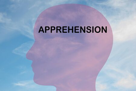 Render illustration of APPREHENSION title on head silhouette, with cloudy sky as a background.