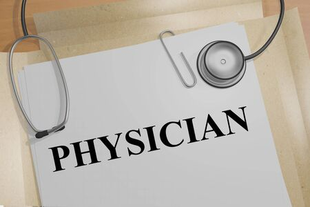 3D illustration of PHYSICIAN title on a medical document