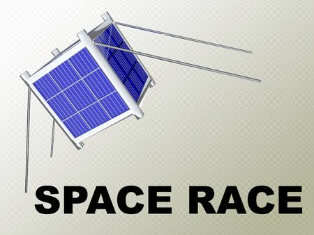 3D illustration of SPACE RACE scipt under a nano satellite, isolated on gray gradient.