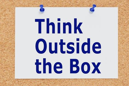 3D illustration of Think Outside the Box on cork board