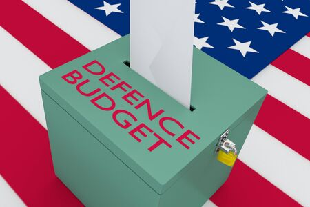 3D illustration of the DEFENCE BUDGET script on a ballot box, with US flag as a background. Stockfoto