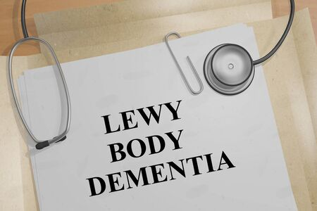 3D illustration of LEWY BODY DEMENTIA title on a medical document