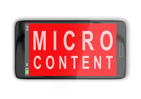 3D illustration of MICRO CONTENT title on cellular screen, isolated on white. Stockfoto