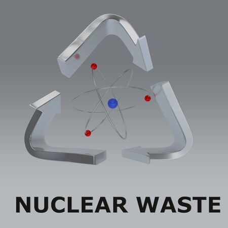 3D illustration of NUCLEAR WASTE title with an atom in a recycling symbol, isolated on a gray gradient. Stockfoto