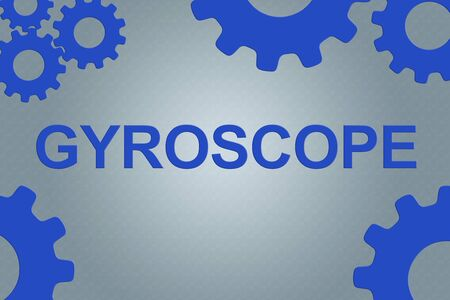GYROSCOPE sign concept illustration with blue wheel figures on gray gradient