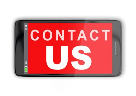3D illustration of CONTACT US title on cellular screen, isolated on white. Communication concept.